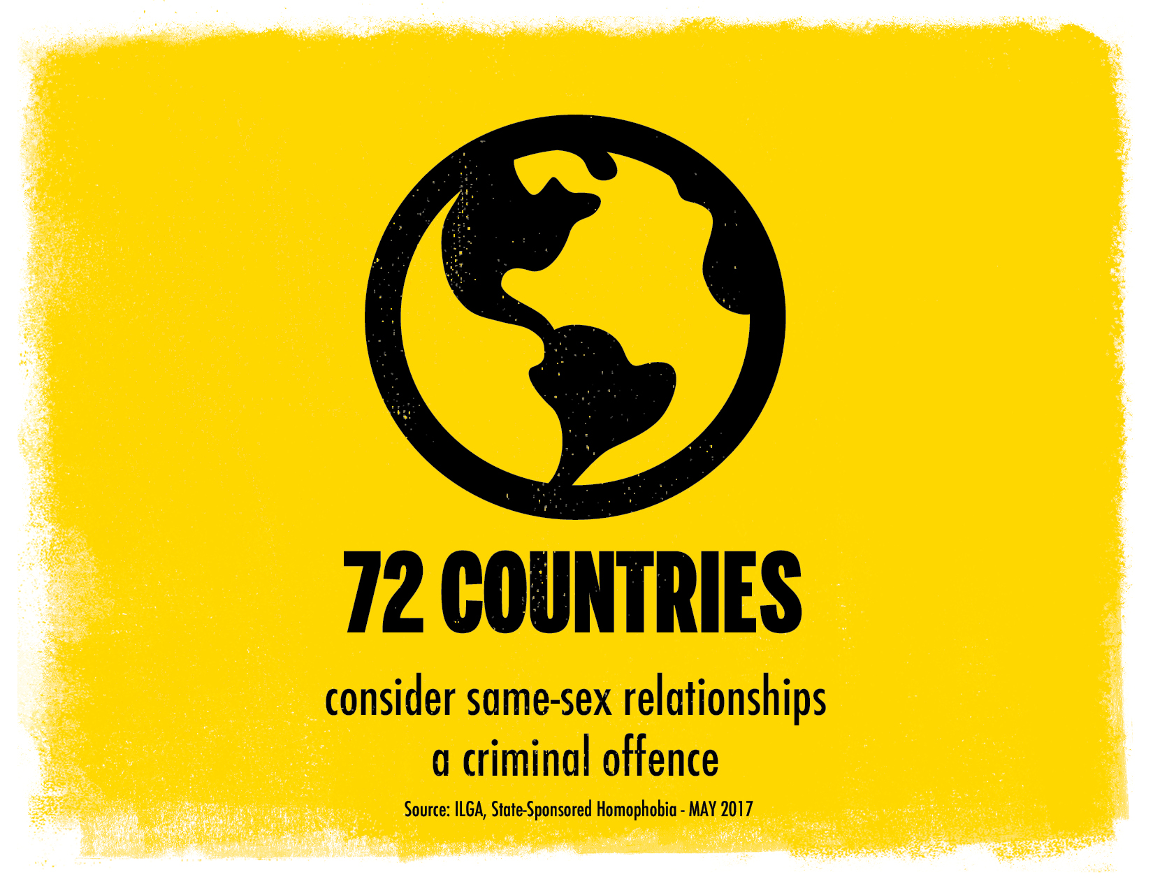 72 countries consider same-sex relationships a criminal offence. Illustration of the world. yellow background.