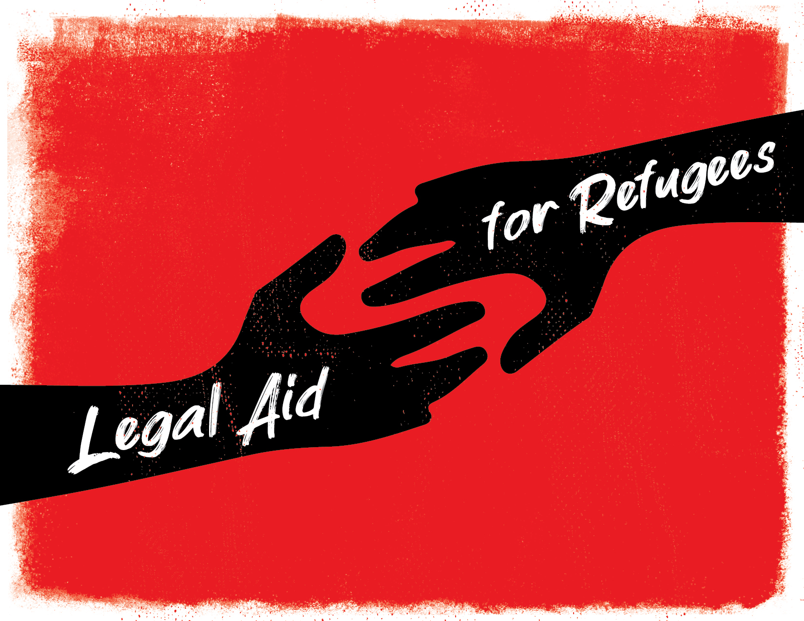 Legal Aid for Refugees. Illustration of two hands about to grab each other. Red background.