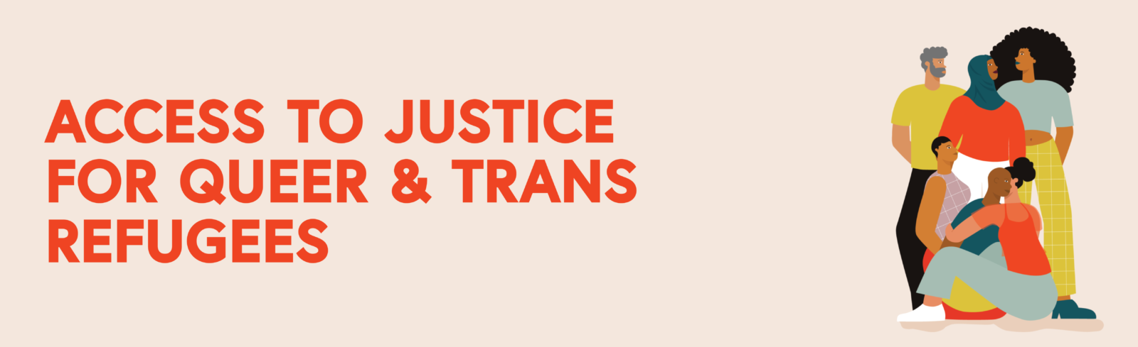 access to justice for queer and trans refugees. Illustration of a group of people of colour.