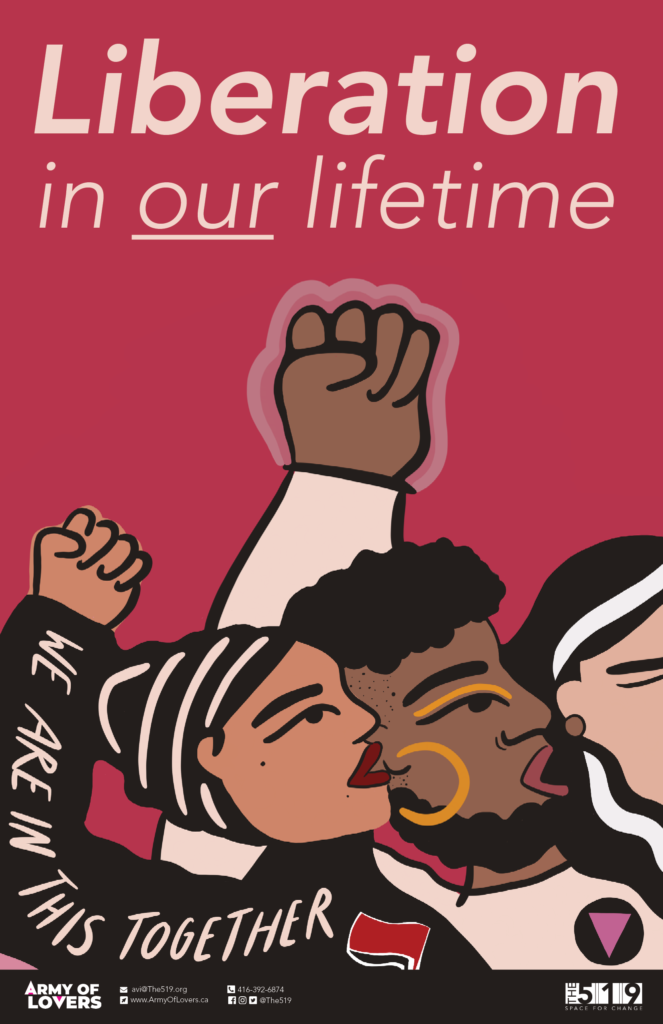 """LIberation in our lifetime. Illustration of people of colour with their fists in the air. One person has the words """"We are in this together"""" across their arm."""